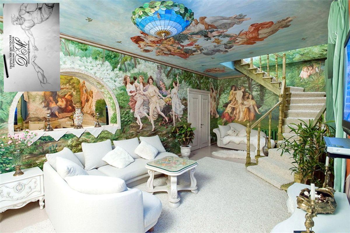 фотопечать фрески на натяжных потолках