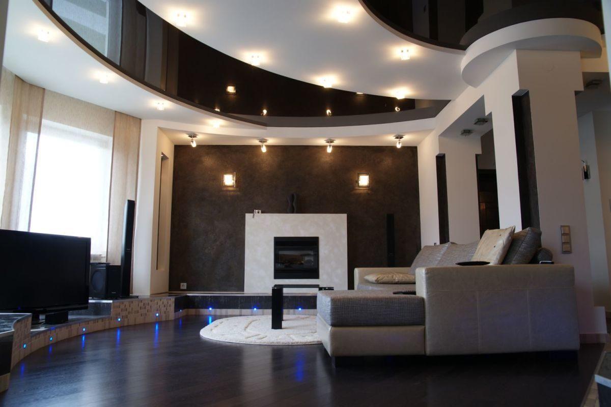 натяжные двухуровневые потолки с подсветкой