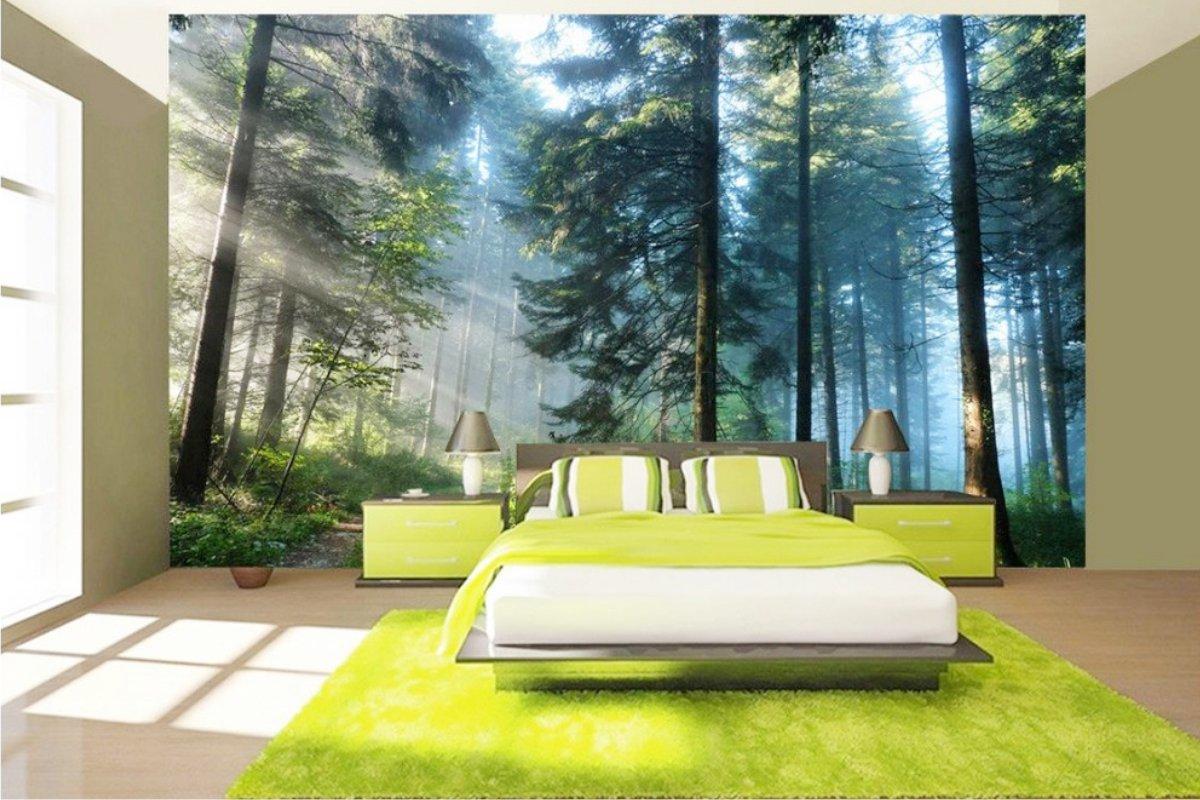 фотообои в спальне лес