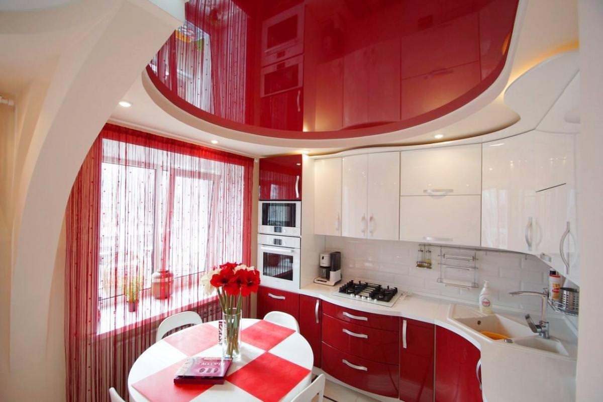 двухуровневые потолки на кухню