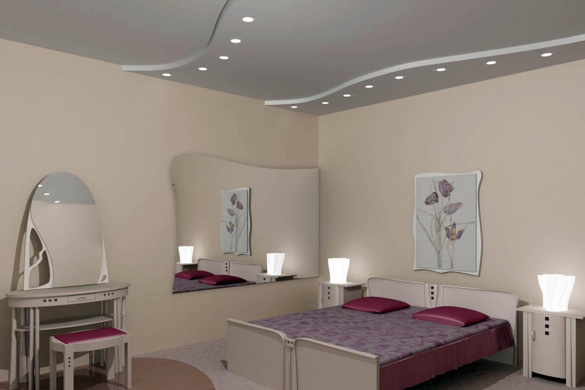 натяжной потолок в маленькой спальне